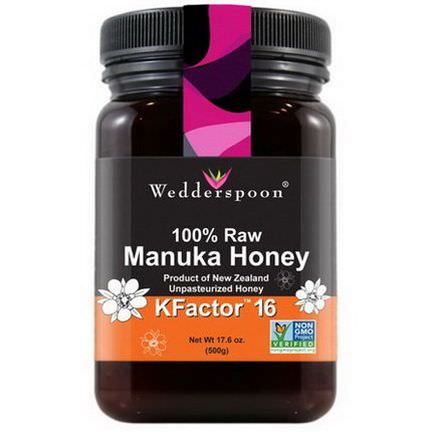 Wedderspoon Organic, Inc. 100% Raw Manuka Honey, KFactor 16 500g