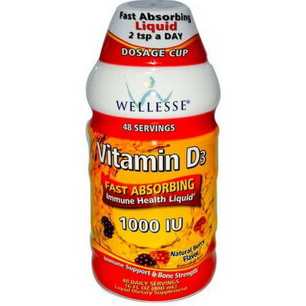 Wellesse Premium Liquid Supplements, Vitamin D3, Natural Berry Flavor, 1000 IU 480ml