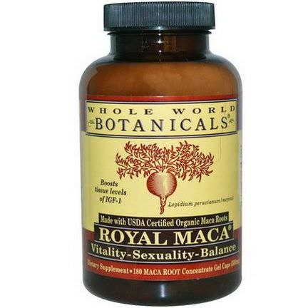 Whole World Botanicals, Royal Maca, 500mg, 180 Gel Caps