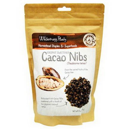 Wilderness Poets, Raw Living Foods, Cacao Nibs, Coconut Sweetened 226.8g