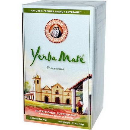 Wisdom Natural, Wisdom of the Ancients, Yerba Mate, Unsweetened, 25 Herbal Tea Bags 50g