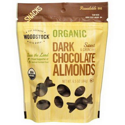 Woodstock Farms, Organic, Dark Chocolate Almonds 184g
