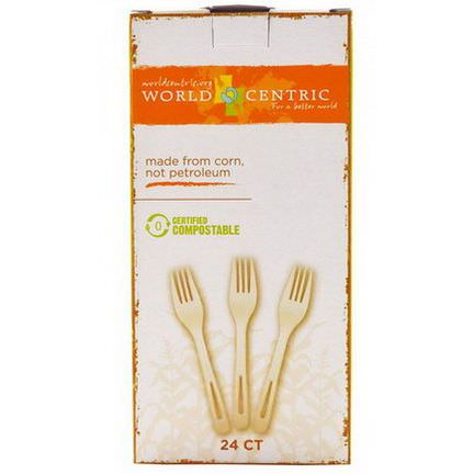 World Centric, Corn&Talc Forks, White, 24 Count