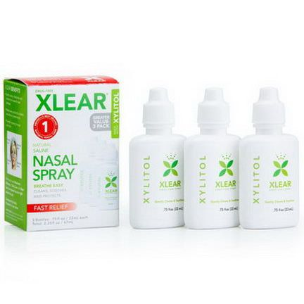 Xlear Inc Xclear, Xylitol, Natural Saline Nasal Spray, 3 Bottles 22ml Each