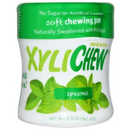 Xylichew Gum, Sweetened with Birch Xylitol, Spearmint, 60 Pieces 78g