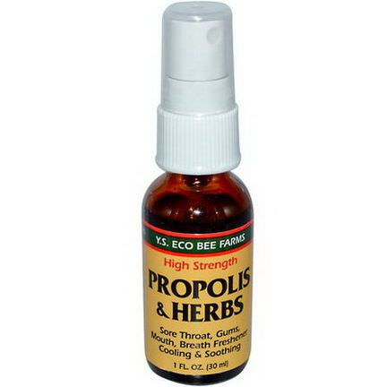 Y.S. Eco Bee Farms, Propolis&Herbs, High Strength, Spray 30ml