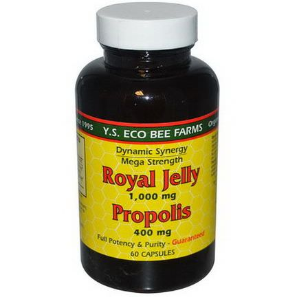Y.S. Eco Bee Farms, Royal Jelly, Propolis, 1,000mg/400mg, 60 Capsules