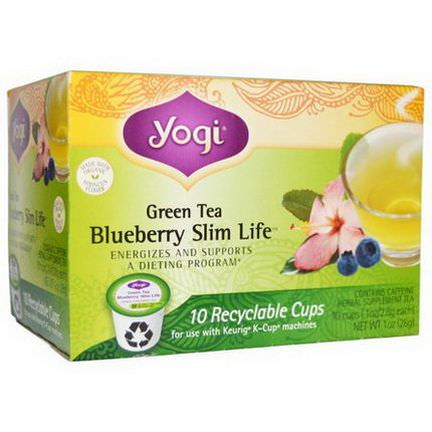 Yogi Tea, Blueberry Slim Life, Green Tea, 10 Cups 2.8g Each
