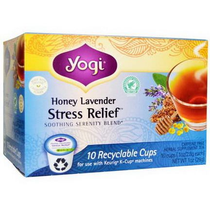Yogi Tea, Honey Lavender, Stress Relief Tea, Caffeine Free, 10 Cups 2.8g Each