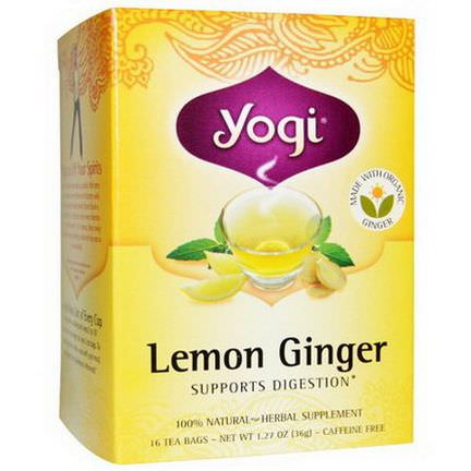 Yogi Tea, Lemon Ginger, Caffeine Free, 16 Tea Bags 36g
