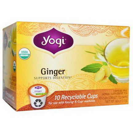 Yogi Tea, Organic, Ginger, Herbal Supplement Tea, Caffeine Free, 10 Cups 1.7g Each
