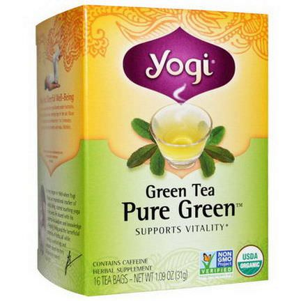 Yogi Tea, Pure Green, Green Tea, 16 Tea Bags 31g