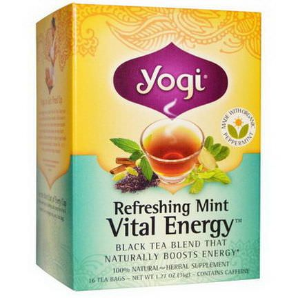 Yogi Tea, Vital Energy, Refreshing Mint, 16 Tea Bags 36g