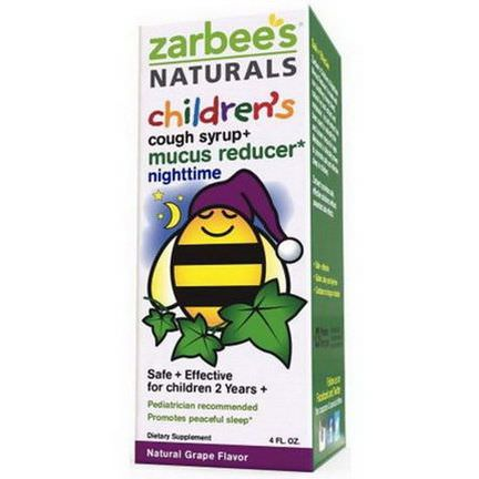 Zarbee's, Children's Cough Syrup+, Mucus Reducer, Nighttime, Natural Grape Flavor, 4 fl oz