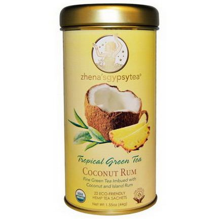 Zhena's Gypsy Tea, Tropical Green Tea, Coconut Rum, 22 Sachets 44g