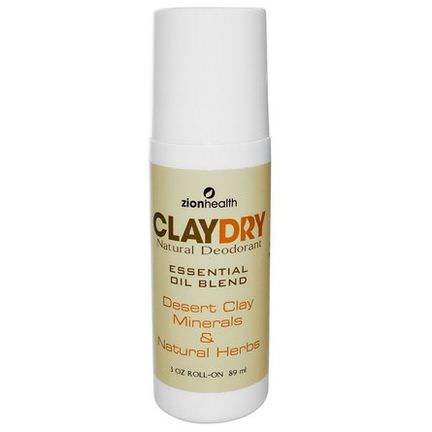 Zion Health, Clay Dry Natural Roll-On Deodorant 89ml