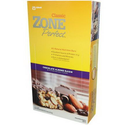 ZonePerfect, Classic, All-Natural Nutrition Bars, Chocolate Almond Raisin, 12 Bars 50g Each