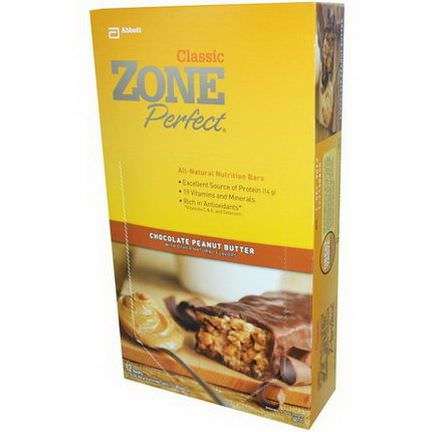 ZonePerfect, Classic, All-Natural Nutrition Bars, Chocolate Peanut Butter, 12 Bars 50g Each