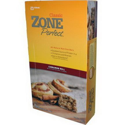 ZonePerfect, Classic, All-Natural Nutrition Bars, Cinnamon Roll, 12 Bars 50g Each