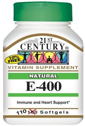 Vitaminas, Vitamina E 21st Century, E-400, Natural, 110 Softgels