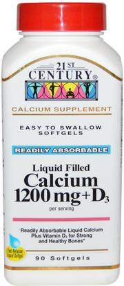 Suplementos, Minerales, Calcio Vitamina D 21st Century, Liquid Filled Calcium 1200 mg + D3, 90 Softgels