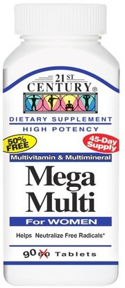 Vitaminas, Multivitaminas Para Mujeres, Mega Multi 21st Century, Mega Multi, For Women, Multivitamin & Multimineral, 90 Tablets