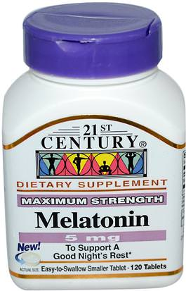 Suplementos, Melatonina 5 Mg 21st Century, Melatonin, 5 mg, 120 Tablets