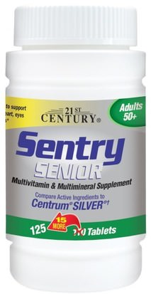 Vitaminas, Multivitaminas - Personas Mayores, Centinela 21st Century, Sentry Senior, Multivitamin & Multimineral Supplement, Adults 50+, 125 Tablets
