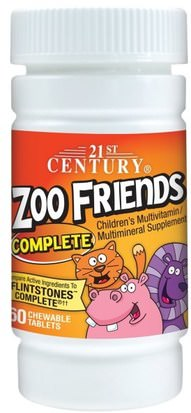 Vitaminas, Multivitaminas, Niños Multivitaminas 21st Century, Zoo Friends Complete, 60 Chewable Tablets