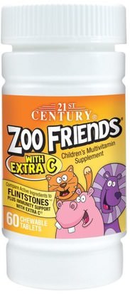 Vitaminas, Multivitaminas, Niños Multivitaminas 21st Century, Zoo Friends with Extra C, 60 Chewable Tablets