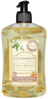 Baño, Belleza, Jabón, Gel De Ducha A La Maison de Provence, Hand and Body Liquid Soap, Sweet Almond, 16.9 fl oz (500 ml)