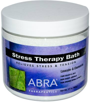 Baño, Belleza, Sales De Baño Abra Therapeutics, Stress Therapy Bath, Lavender & Chamomile, 17 oz (482g)