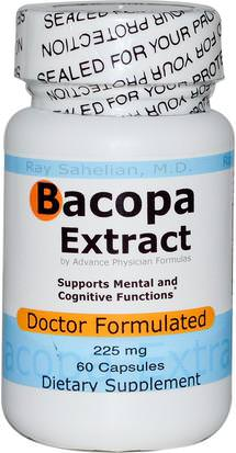Hierbas, Bacopa (Brahmi) Advance Physician Formulas, Inc., Bacopa Extract, 225 mg, 60 Capsules