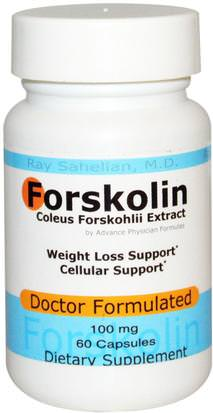 Hierbas, Coleus Forskohlii Advance Physician Formulas, Inc., Forskolin, Coleus Forskohlii Extract, 100 mg, 60 Capsules