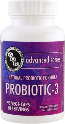 Suplementos, Probióticos, Probióticos Estabilizados Advanced Orthomolecular Research AOR, Advanced Series, Probiotic-3, 90 Veggie Caps