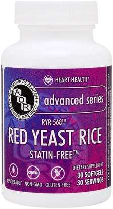 Suplementos, Arroz De Levadura Roja Advanced Orthomolecular Research AOR, Advanced Series, Red Yeast Rice, 30 Softgels