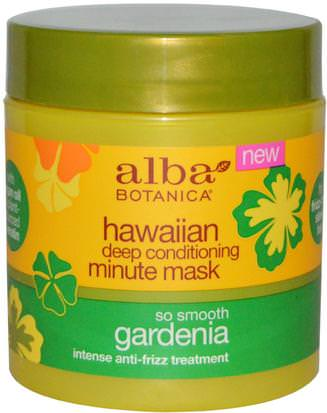 Baño, Belleza, Acondicionadores, Argan Alba Botanica, Hawaiian Deep Conditioning, Minute Mask, Gardenia, 5.5 oz (156 g)