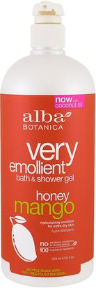 Baño, Belleza, Gel De Ducha Alba Botanica, Very Emollient, Bath & Shower Gel, Honey Mango, 32 fl oz (946 ml)