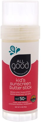 Baño, Belleza, Protector Solar, Spf 50-75, Protector Solar Para Niños Y Bebés All Good Products, Kids Sunscreen Butter Stick, SPF 50+, 2 oz (57 g)
