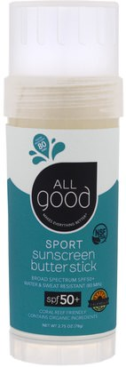 Baño, Belleza, Protector Solar, Spf 50-75 All Good Products, Sport Sunscreen Butter Stick, SPF 50+, 2.75 oz (78 g)