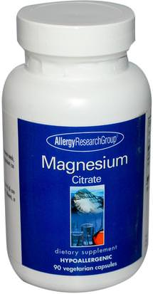 Suplementos, Minerales, Citrato De Magnesio Allergy Research Group, Magnesium Citrate, 90 Veggie Caps