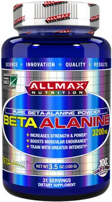 Suplementos, Suplementos Anabólicos, Deportes ALLMAX Nutrition, 100% Pure Beta-Alanine Maximum Strength + Absorption, 3200 mg, 3.5 oz (100 g)