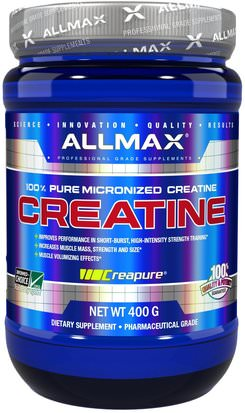 Deportes, Creatina En Polvo ALLMAX Nutrition, 100% Pure Micronized Creatine, 14.1 oz (400 g)