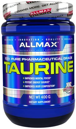 Suplementos, Aminoácidos, Deportes, Taurina ALLMAX Nutrition, 100% Pure Taurine + Maximum Strength + Absorption, 3000 mg, 14.1 oz (400 g)