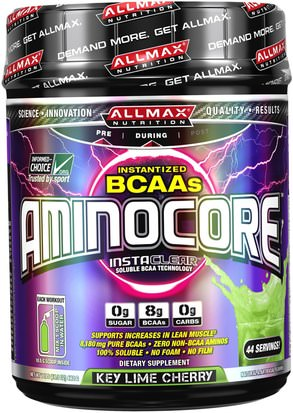 Deportes ALLMAX Nutrition, Aminocore, BCAA Max Strength, 8G Branched Chain Amino Acid, Gluten Free, Key Lime Cherry, 1 lbs (462 g)