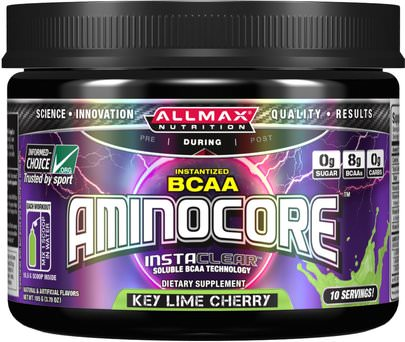 Deportes ALLMAX Nutrition, Aminocore, BCAA Max Strength, 8G Branched Chain Amino Acid, Gluten Free, Key Lime Cherry, 105 g