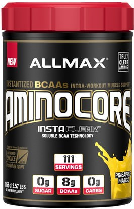 Deportes ALLMAX Nutrition, Aminocore, Instantized BCAAs Intra-Workout Muscle Support, Pineapple Mango, 2.57 lbs. (1166 g)