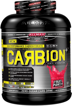 Deportes, Entrenamiento ALLMAX Nutrition, CARBion+, Maximum Strength Electrolyte + Hydration Energy Drink, Fruit Punch, 5 lbs (2.35 k)
