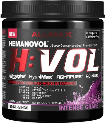 Deportes, Deporte ALLMAX Nutrition, H:VOL, Nitric Oxide Pre-Workout + Vascular Blood Volumizer Intense Grape, 10.1 oz (285 g)