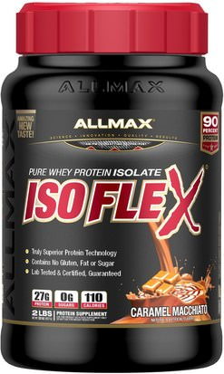 Deportes ALLMAX Nutrition, Isoflex, 100% Ultra-Pure Whey Protein Isolate (WPI Ion-Charged Particle Filtration), Caramel Macchiato, 2 lbs (907 g)